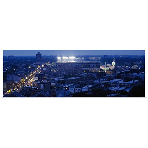 (GREATBIGCANVAS Poster Print Entitled Aerial View of a City, Wrigley Field, Chicago, Illinois, by 48