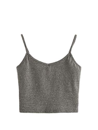 (SheIn Women's Casual V Neck Sleeveless Ribbed Knit Cami Crop Top Grey)