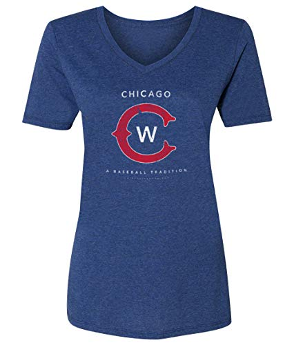 36 and Oh! Womens Chicago C Baseball T Shirt Vintage Distressed - Soft Style V-Neck