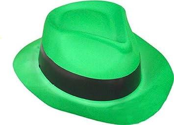 Sombrero de Gánster verde fosforito adulto  Amazon.es  Juguetes y juegos 072e598ee9a