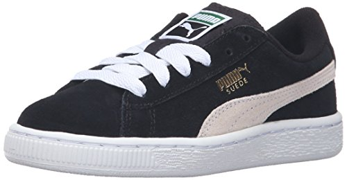 PUMA Suede PS Classic Kids Sneaker (Toddler/Little Kid/Big Kid), Black/White, 3.5 M US Big Kid - Kid Suede Shoes