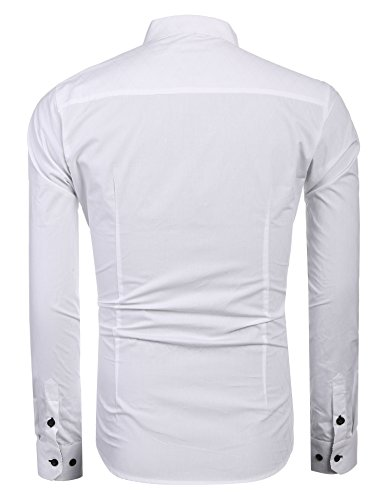 COOFANDY Men's Business Stylish Slim Fit Long Sleeve Casual Dress Shirt (L, White) by COOFANDY (Image #3)