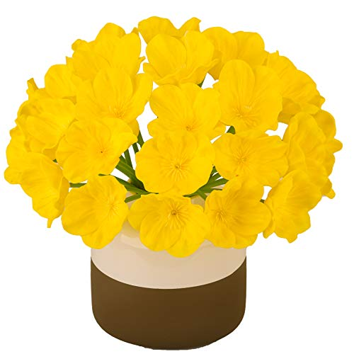 Bomarolan Poppy Latex Artificial Flower Real Touch Poppies 24 Pcs for Wedding Decor DIY Home Party(Yellow)