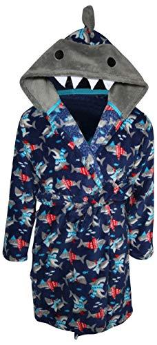 Only Boys PlushFleece Animal Character Hooded Robe, Blue Sharks, Size 6/7' (Boys Bathrobe Fleece)