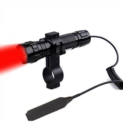 Windfire, torcia impermeabile con luce CREE rossa a LED, torcia tattica con interruttore a pressione, per caccia, supporto da 2,5 cm, con batteria ricaricabile 18650 e caricabatterie inclusi