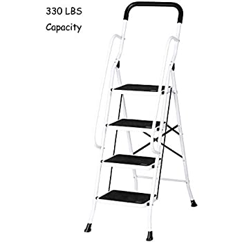 Stable Step Ladder 4 Step with Hand Grips Safety Ladders Holds 330 lbs Capacity, Upgraded