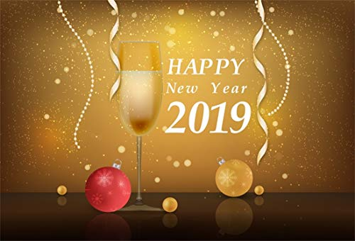 Yeele 9x6ft New Year Photography Background Champagne 2019 Christmas Fruit Ribbon Pearl Cup Hanging Ornament Happy New Year Photo Backdrops Pictures ()