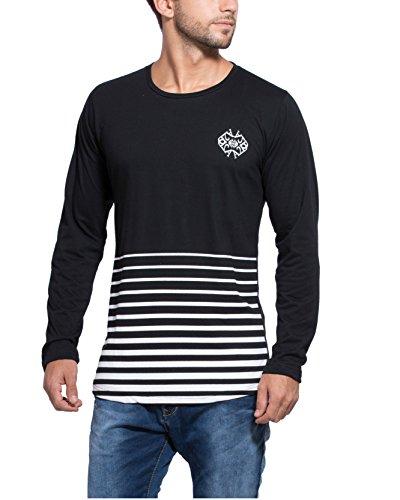 Alan Jones Striped Cotton Apple Cut Full Sleeves T Shirt (STC180-BCK-L_Large_Black)