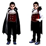 Halloween Kids Cosplay Costume Tops Funny Cloak Outfits Set (8-10 Years Old, Black)