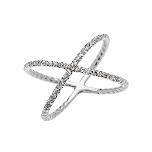 14k White Gold Dainty Criss Cross Diamond Rope Design Ring(Size 8)