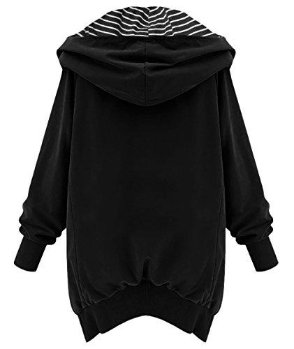 Coat Femme Djt Rayures Zipped Jacket Manteau A Noir capuche Trench Veste nwqw0APR1