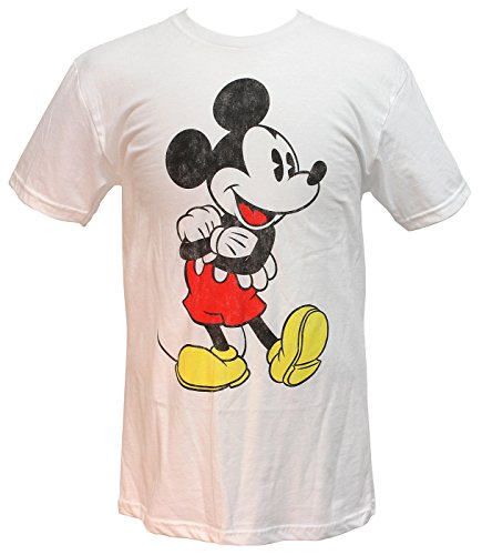 Mickey Mouse Arms Crossed Vintage Distressed Graphics Mens T-shirt (X-Large) - Vintage Mickey Mouse T-shirt