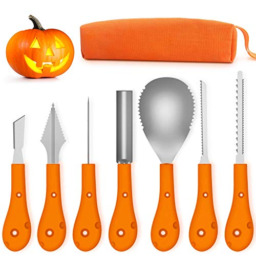 ZDCDEALS 2018 Newest Halloween Pumpkin Carving Kit,Professional and Heavy Duty Stainless Steel Tools,Pumpkin Carving Set with Carrying Case (7Pcs)