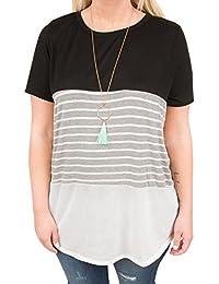 Womens Color Block Short Sleeve T Shirts Plus Size...