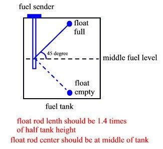 "Fuel level sender VDO type 10-180 ohms 24"" adjustable universal 6"""