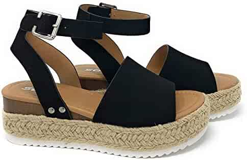 Womens Casual Espadrilles Trim Rubber Sole Flatform Studded Wedge Buckle Ankle Strap Open Toe Sandal