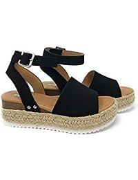 d04f504f563c Womens Casual Espadrilles Trim Rubber Sole Flatform Studded Wedge Buckle  Ankle Strap Open Toe Sandal
