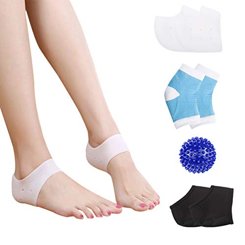 HLYOON Plantar Fasciitis Kit-7PCS Plantar Fasciitis Sleeve Gel Heel Protectors Ankle Brace, Heel Support, Socks, Foot Massage Ball for Metatarsal Pain,Foot Arch Support,Relieve Foot Pain -