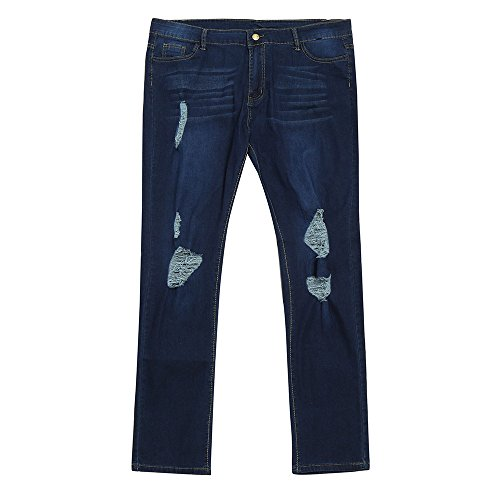 Npradla Delgado Oscuro Alta Fresco Casual Jeans Moda Talla Vaqueros Tendencia De Ajustados Pantalones Rasgada Cintura Elegante Mujer Estiramiento Extra Azul qRrqA1