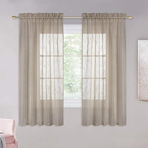 NICETOWN Sheer Curtains for Half Window - Rod Pocket Design Linen Textured Panels Privacy Semitransparent Voile Sheer Drapes for Kid/Nursery Room (W52 x L63, Taupe, 1 Pair) (Simple For Designs Windows Curtain Small)