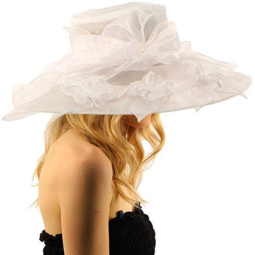 SK Hat shop Edwardian Era Floral Casade Organza Derby Floppy Wide Brim 7