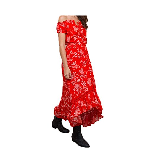 Eric Hug Elegant Off Shoulder Floral Print Dress Women Lace up Sexy Long Dress Ruffles Beach Summer Vintage Dress Vestidos Red L at Amazon Womens Clothing ...