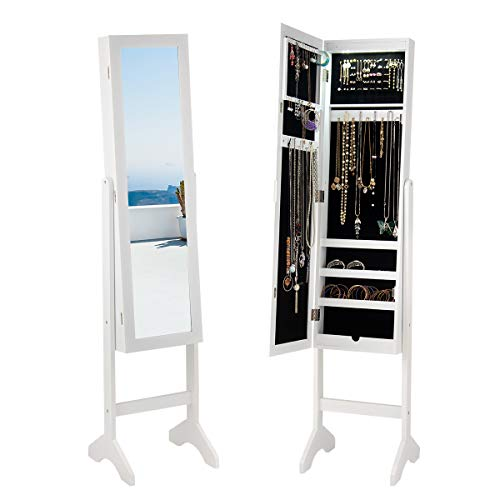 Giantex Jewelry Cabinet Armoire with 13 Led Lights, Large Storage for Home Bedroom Full Length Mirrored 60 Ring 16 Hooks Makeup Organizer Box, Standing Jewelry Armoires Cabinets w/Mirror, White (Jewelry Cabinet Hooks)