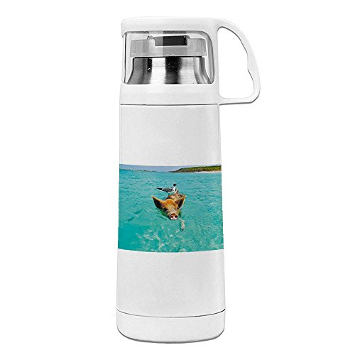 Print of Swimming Pig In Staniel Cay Bahamas Funny White Vacuum Insulated Travel Mug 14OZ/350ml