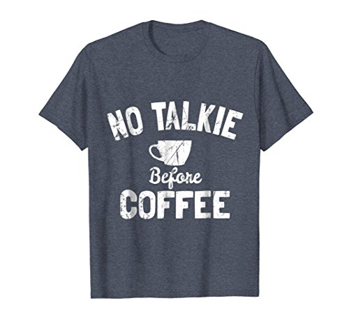 Mens No Talkie Before Coffee T-Shirt Medium Heather Blue