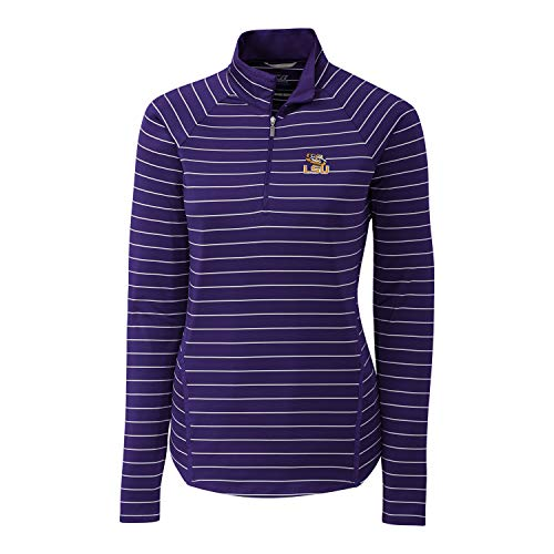 Cutter & Buck NCAA LSU Tigers Long Sleeve Pencil Stripe Evie Half Zip, College Purple, XS