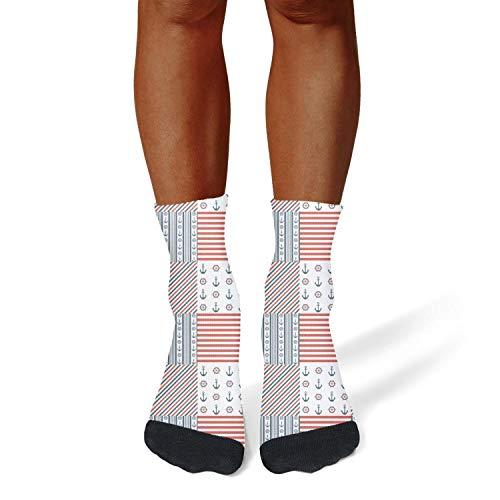 Tasbon Migny Hills Men's All-Season Sports Socks Anchor Print Stripe Athletic Socks for Men