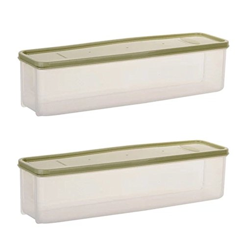 Astra Gourmet 2-Pack Airtight Rectangular Tall Food Storage Container, Spaghetti Noodle Pasta Canister/Jar - 11.4