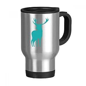 Deer Animal Blue Wood Grain Stainless Steel Travel Mug Travel Mugs Gifts With Handles 13oz