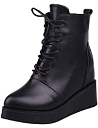 Women's Platform Lace Up Sneakers Almond Toe Ankle Hidden Wedge Heel Boots By VFDB