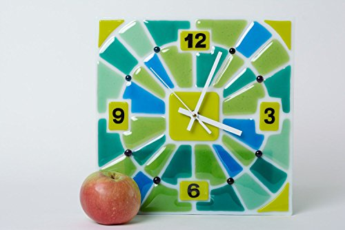 Handmade Fused Glass Square Wall Clock - Fused Glass Clock