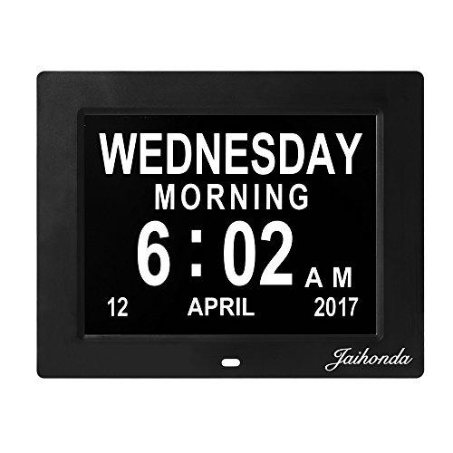Jaihonda Digital Day Clock- Calendar Clock- Kitchen Wall Clock Extra Large Display Vision Impaired & 8 Alarms & Battery Backup Electronic Clock for Elderly