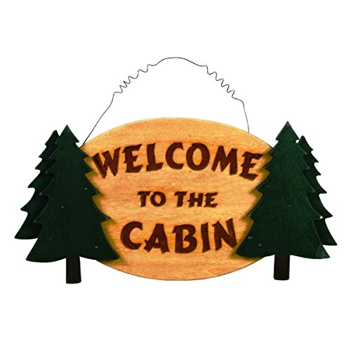 welcome-to-the-cabin-evergreen-tree-8-x-16-inch-wall-plaque-sign-decoration