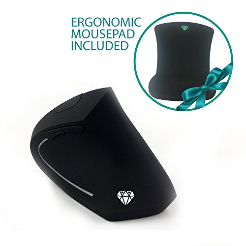 2.4G Wireless Vertical Ergonomic Optical Mouse, 800/1200 /1600DPI, 5 Buttons, Mouse Pad Included, Perfect Digital Warriors, Prevents Carpal Tunnel Syndrome - Black by Velixt