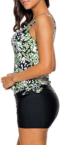 Bettydom Mujer Gota de rocío Lazos laterales con pantalones de natación de modelo de chaleco Tankini Sets Bikini Verde
