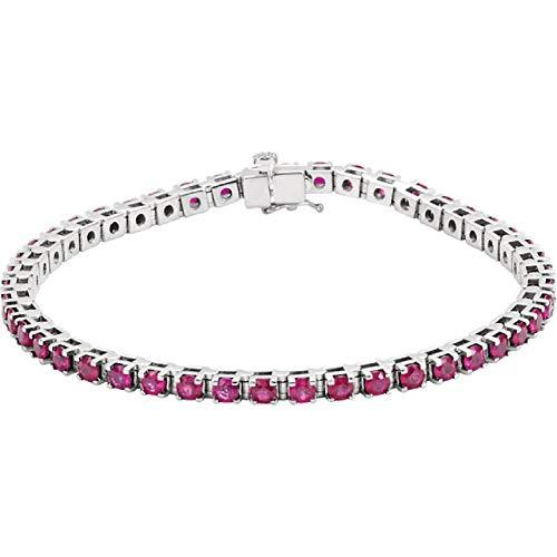 Eliana and Eli 14K White Ruby Line Bracelet
