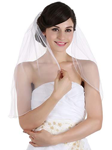(SAMKY 1T 1 Tier Hemmed Pencil Edge Bridal Wedding Veil -White Shoulder Length 25