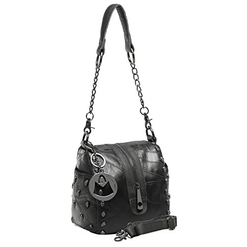 MG Collection Lambskin Gothic Skull Studded Convertible Shoulder Bag, Black, One Size (Stud Hobo Purse)