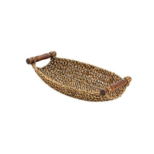 Seagrass 3 Piece Storage Basket Set with Wood Handles - Storage Basket with Iron Wire Frame - Brown