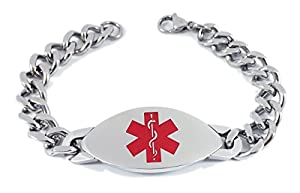 """Max Petals - Type 1 Diabetes Medical Alert ID Stainless Steel Men's Bracelet with 8"""" Chain"""