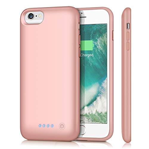 Battery Case for iPhone 6s/6 6000mAh, iPosible Rechargeable Protective Extended Battery Pack Charging Case iPhone 6 6s (4.7 inch) Portable Backup Charger Power Bank-Rose Gold
