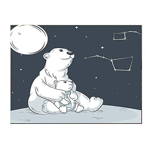 (SATVSHOP Canvas painting-24Lx36W-Starry Night Sitting Mother Polar Bear and Her Cute Son Looking on Stars Illustration Black and White.Self-Adhesive backplane/Detachable Modern Decorative Art.)