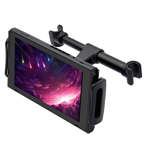 Marrrch Car Headrest Mount Phone & Tablet Holder, Rotatable & Adjustable, Car Seat Back Stand Bracket for CellPhone & iPad (Black)