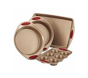Rachael Ray Cucina 4-Piece Bakeware Set, Latte Brown