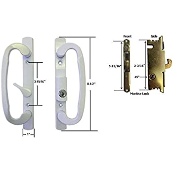 Good Sliding Glass Patio Door Handle Set With Mortise Lock, White, Keyed, 3