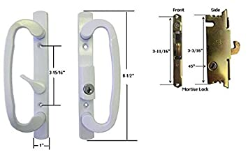 Sliding Glass Patio Door Handle Set With Mortise Lock, White, Keyed, 3